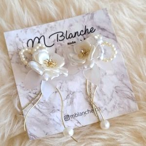 Gold & White Floral Faux Pearl Beaded Earrings